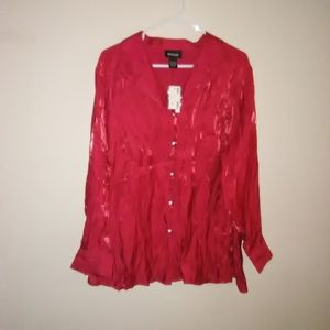 Avenue Women's top size 22/24 button down  red